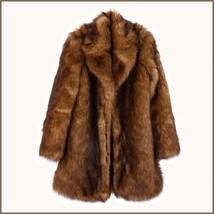 Luxury Roaring Twenties Big Muskrat Coat Turn Down Collar Imitation Faux Fur image 4