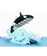 CUTPOPUP Orca Whale 3D Pop-Up Greeting Card, With Cards Holder, Intricat... - $12.25