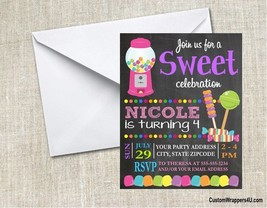Candy Sweets Bubblegum Lollipops Birthday Party Invitations Personalized... - $0.99+