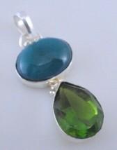 8 Gram Peridot-Green Agate Stone Silver Overlay Handmade Pendant Jewelry - $0.99