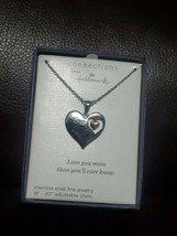 Connections from Hallmark Stainless Steel  Love You MORE   Heart Pendant C-3 - $17.81