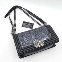AUTHENTIC CHANEL BLACK Limited Edition Embroidery Leaf Medium Boy Flap Bag image 3