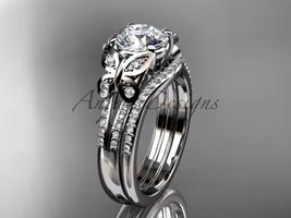 Moissanite Butterfly Platinum diamond wedding ring set ADLR514S  - $3,545.00