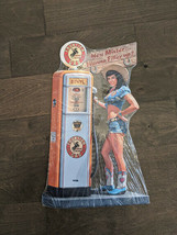 """20"""" Frontier Gas PIN-UP Girl 3d cutout retro USA STEEL plate display ad Sign - $78.30"""