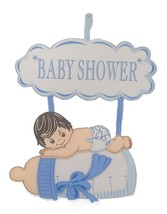 "Baby Shower Hanging Foam Boy with bottle and cloud Decoration 26"" tall 2... - $19.75"