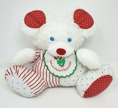 VINTAGE 1990 FISHER PRICE BABY'S FIRST CHRISTMAS STUFFED ANIMAL PLUSH PU... - $64.52
