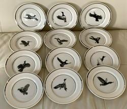 Lenox Vintage Set of 12 Richard E Bishop Porcelain Bird Dessert Plates - $395.01