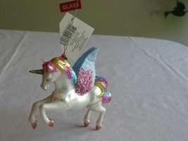 Glitter Winged Unicorn Pegasus Glass Christmas Tree Ornament GWP Collect... - $9.99