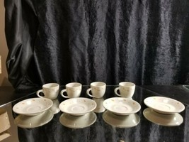 Great gift idea! 4 china teacup and saucer set white with brown markings - $20.79