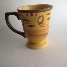 Italian Villa Cup Coffee Mug 12 oz. Home Trends Ceramic Yellow Brown Gold - $8.75