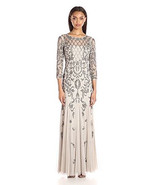 Adrianna Papell Long Sleeve Beaded Gown, Silver, 0 - $247.49