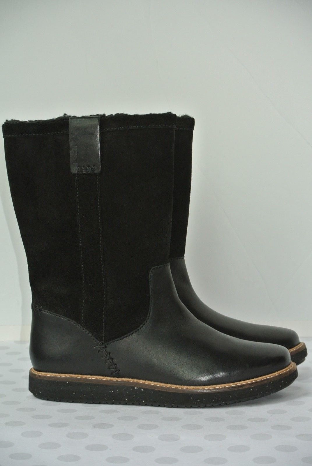 NEW Clarks Glick Elmfield Womens Sz 6.5 M Black Leather Mid Calf Boots $180