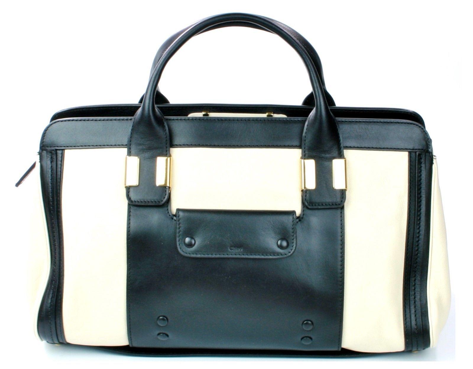 Chloe Alice Husky White Black Leather Tote Bag Medium Sized Handbag