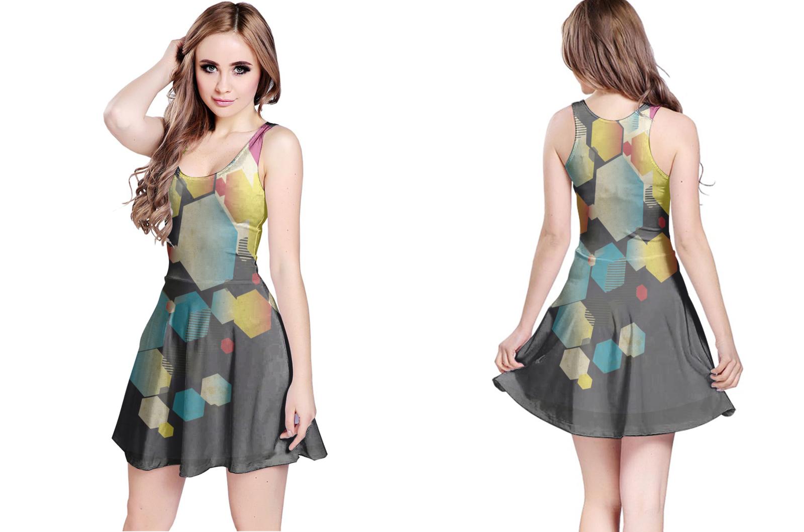 Retro hex reversible dress