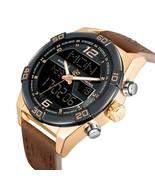 Analog Digital LED Dual Time Display Watch Dark Brown Genuine Leather Band - $79.69