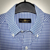 Club Room Dress Shirt 14.5 Check Cotton Button Front Long Sleeve Blue Ma... - $19.75