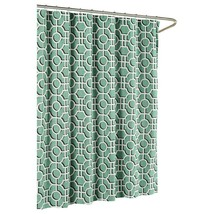 Jean Pierre Lenox Spa Shower Curtain Cotton Creative Teal Green Black Wh... - $29.69