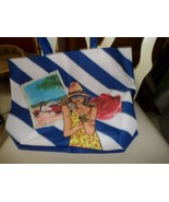 Blue and white beach tote with lady on front from Lancome - $9.50