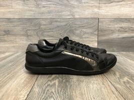 Prada Black Leather Sneakers Silver Accent Size 7 4E - $89.10