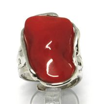 925 SILVER RING, RED CORAL NATURAL CABOCHON, MADE IN ITALY image 5