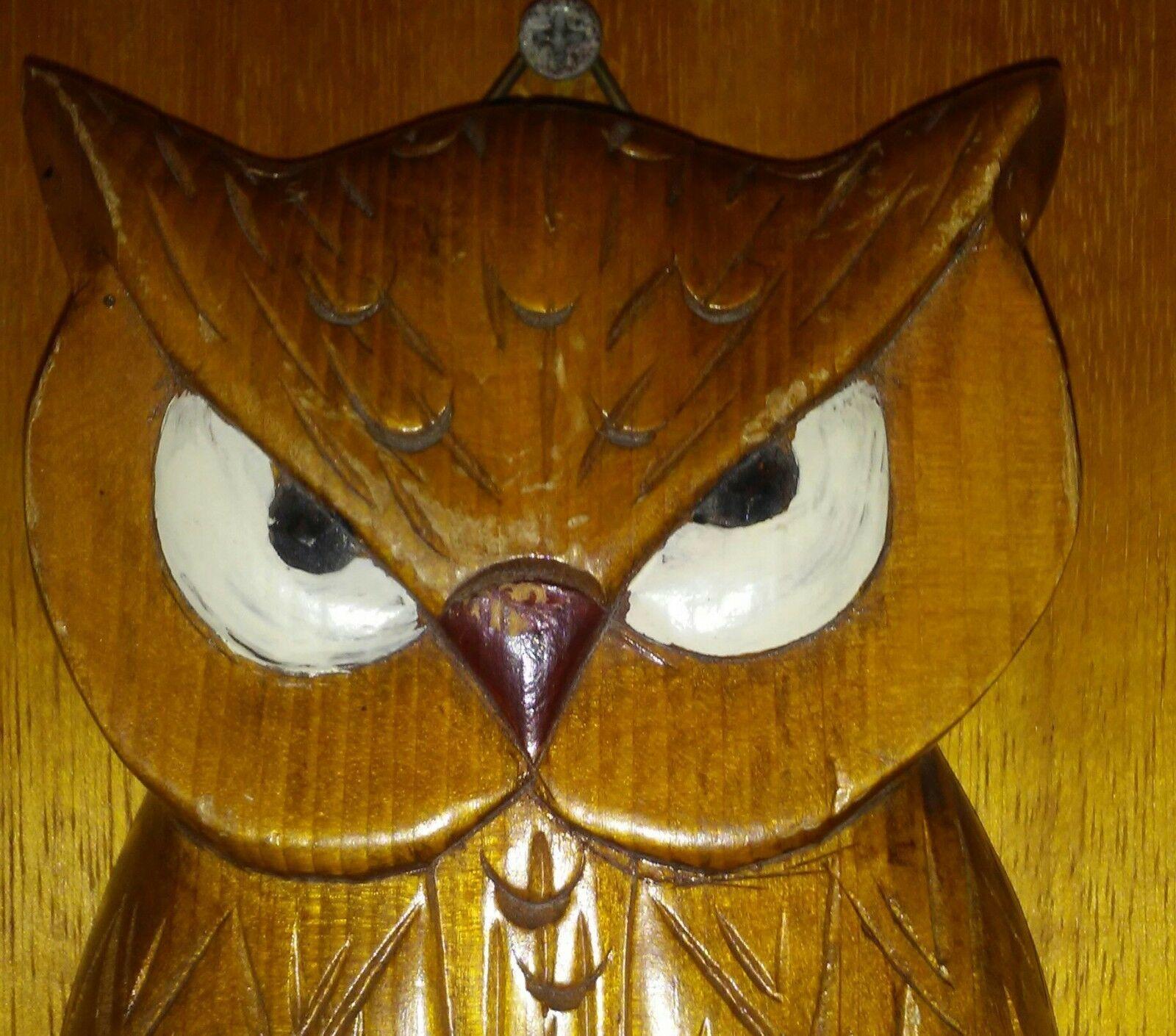 """Vintage Owl Key Holder Hook Wall Plaque 10"""""""