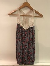 Forever 21 100% Rayon Gray Floral Tank Top With Crochet Collar & Straps Size S - $9.95