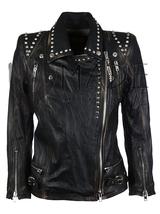 Women's Black Color Biker Genuine Silver Small Studded Zipper Leather Jacket - $249.99+