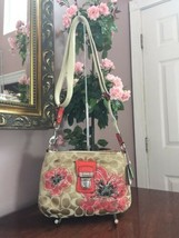 Coach Crossbody Bag  Poppy Flower Sequin Limited Edition Floral Beige  4... - $84.14