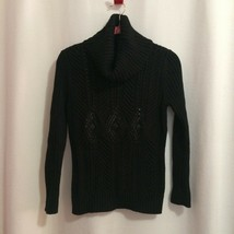 Talbots Cowl Neck Pullover Sweater Size MP Black Matte Sequins Cotton Wo... - $21.78