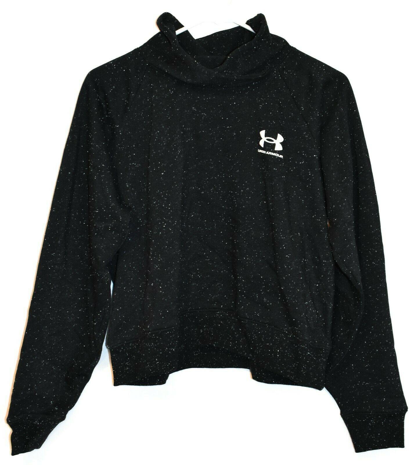 Under Armour Women's UA Black & White Rival Fleece Wrap Neck Sweatshirt Size S