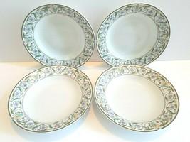 """4 Studio Nova Morningside 8 1/4"""" Green Blue Floral Rimmed Soup Salad Bowls YA065 - $33.63"""