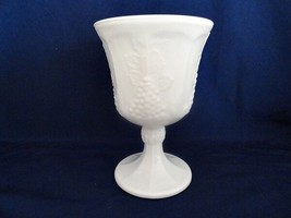 Colony Harvest Milk Glass Grape Design Water Goblet - $12.19