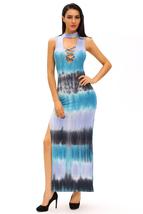 Bluish Tie Dye Print Sexy Cutout Maxi Dress  - $24.10