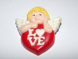 Vtg Plastic CHERUB ANGEL HEART LOVE Valentine's Day Pin Brooch Avon - $2.50
