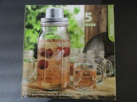 5 Piece Cocktail Set Canning Jar Style Clear 20Oz Shaker 4-5Oz Shooters ... - $586,36 MXN