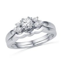 Round Cut White Diamond Bridal Set Engagement Wedding Ring 14K White Gold Finish - $86.99