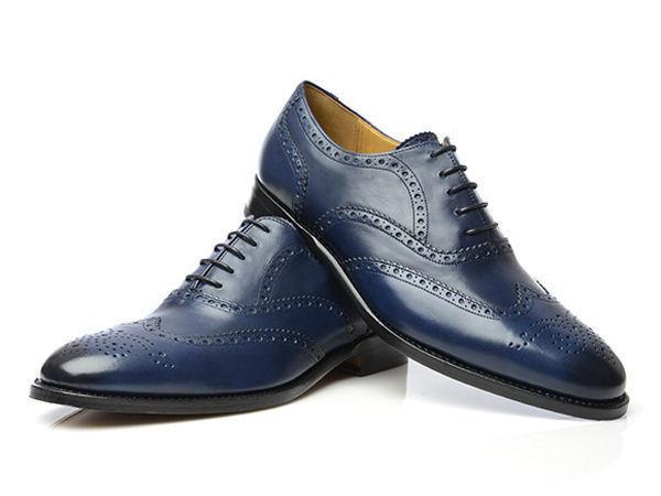 Handmade Men's Navy Blue Leather Wing Tip Heart Medallion Dress/Formal Shoes