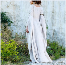 Medieval Wide Long Sleeved Floor Length White Linen Gothic Chemise Under... - $78.95