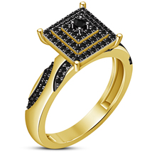 18k Yellow Gold Plated Pure 925 Silver Round Cut Black CZ Womens Engagem... - $94.12 CAD