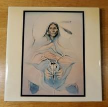 VINTAGE DEER MAN BY MARIE BUCHFINK NATIVE AMERICAN ART TILE - $49.95