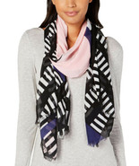 Calvin Klein Geo Colorblocked Scarf (Black) - $28.11