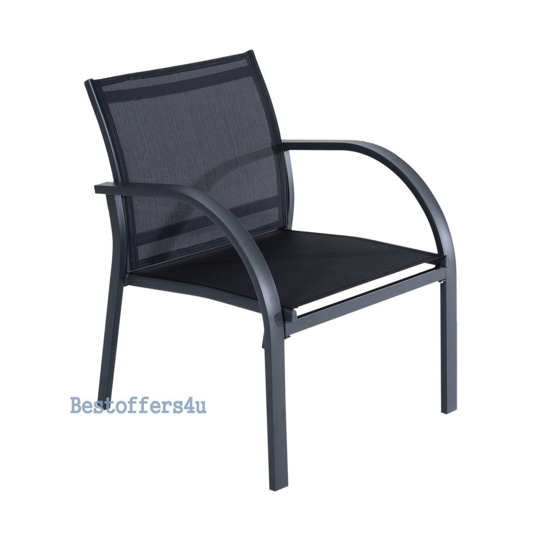 Luxury Garden Set 4pcs Contemporary Black Textilene Mesh Sofa Table 2 Chairs New image 3