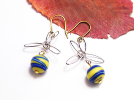 Murano dangle earring Woman yellow drop jewelry Free shipping handmade m... - $17.00