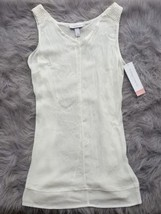 Liz Lange Marenity White Tank Top Rayon Crochet Tie Back NWT Sz Small or... - $10.99