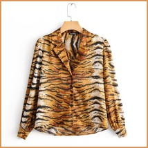Casual Lapel Collar Long Sleeve Front Button Down Tiger Striped Cotton S... - $56.95