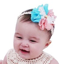 Set of 3 Beautiful Baby Girl Headband Cute Flower Toddler Accessory Pink&Blue 1Y