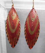 Vintage Gold Tone Plastic Covered Feather Like Dangle Earrings Pink & Yellow - $9.90