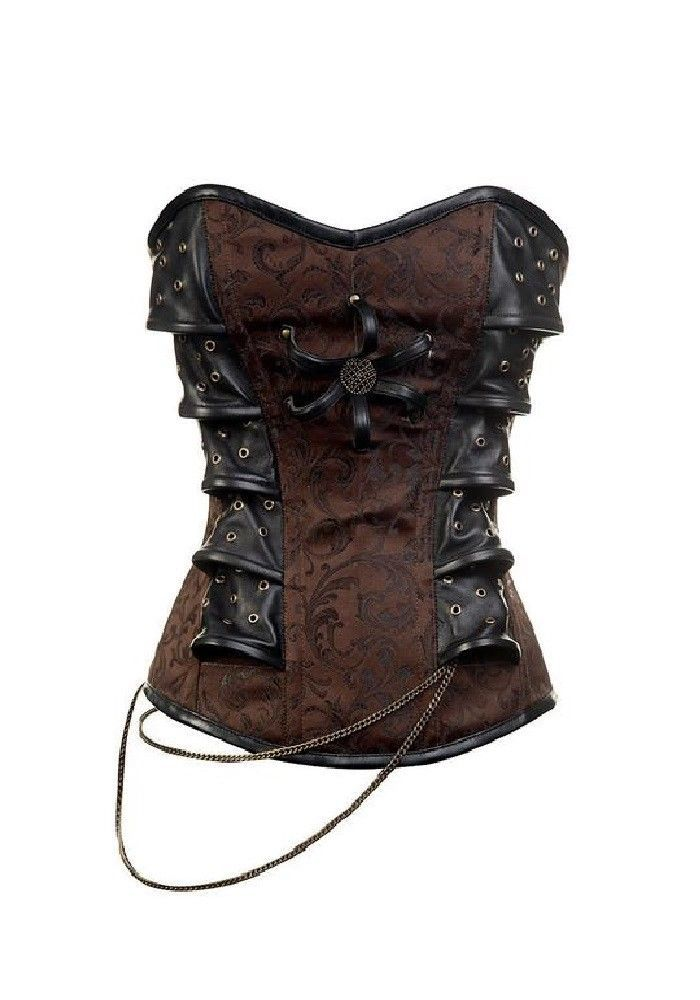 Brown Brocade with Leather Patches Steampunk Waist Training Overbust Corset Top