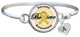 Custom Sarcoma Awareness Yellow Ribbon Believe Silver Bracelet Jewelry I... - $14.84+