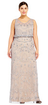 Adrianna Papell Silver Grey/Nude Sleeveless Beaded Blouson Gown  Plus  16W - $266.31